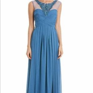 Steel blue maxi prom dress